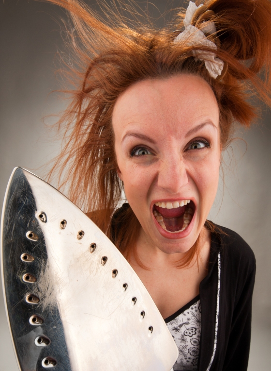 Screaming Housewife With Steam Iron
