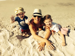 Carolyn and her kids during their annual family trip to Florida.
